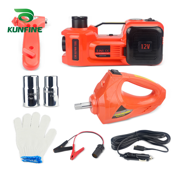 KUNFINE 12V 5Ton Car Electric Tire Lifting Car Jacks Hydraulic Air Infatable Car Floor Jack With DC12V Electric Impact Wrench