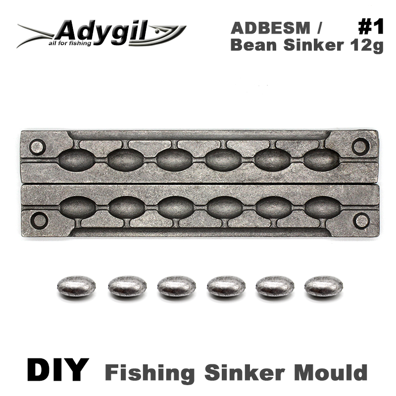 Adygil DIY Fishing Bean Sinker Mould ADBESM/#1 Bean Sinker 12g 6 CavitiesAdygil DIY Fishing Bean Sinker Mould ADBESM/#1 Bean Sinker 12g 6 Cavities