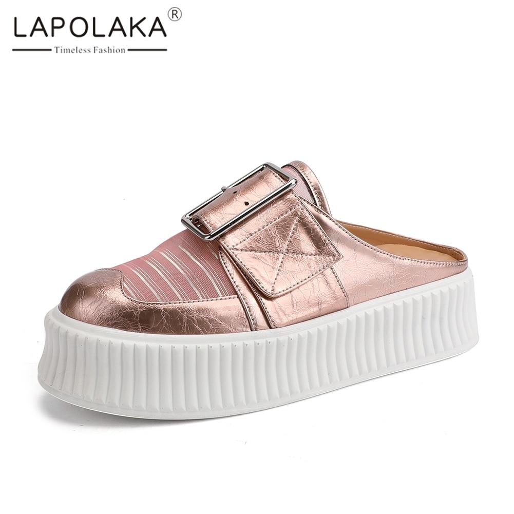 Lapolaka 2019 nouveau doux plate-forme d'été Gril pantoufles en cuir véritable chaussures pantoufles femme chaussures femme décontractées taille 34-40