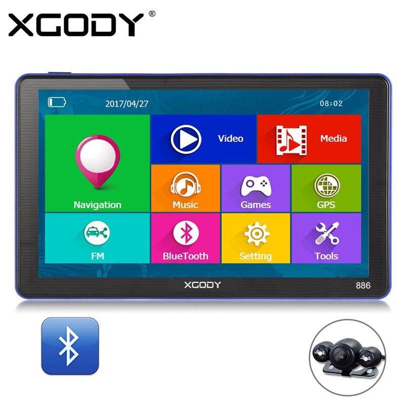XGODY 886 7 Polegada 256M + 8G AV-IN Caminhão Do Carro Do GPS de Navegação Do Bluetooth FM Navigator Capactive Tela Traseira câmera de visão 2018 Europa Mapa