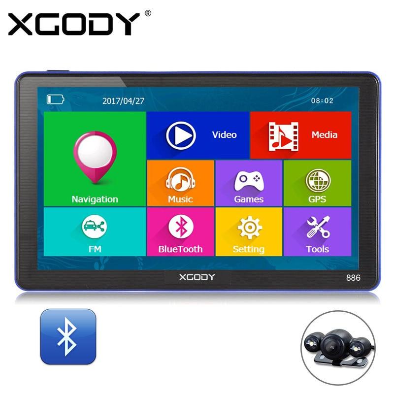 XGODY 886 7 Inch 256M+8G Bluetooth AV-IN Car Truck GPS Navigation Capactive Screen FM Navigator Rear View Camera 2017 Europe Map