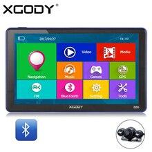 XGODY 886 7 Pouce 256 M + 8G Bluetooth AV-IN Voiture Camion GPS Navigation Capactive Écran FM Navigator Vue Arrière Caméra 2017 Europe carte