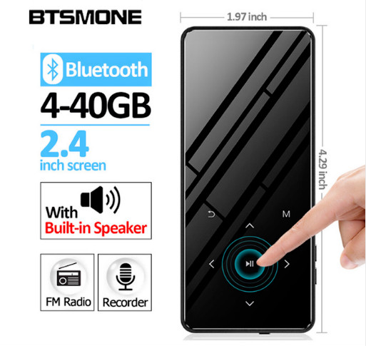 Bluetooth 4.2 touch screen MP3 player Built-in 16G HIFI Lossess Portable Slim MP3 player with radio and loud Speaker For walking