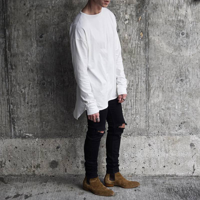 4d596331b NEW FEAR OF GOD solid foundation Europe street style T-shirt long sleeve t-