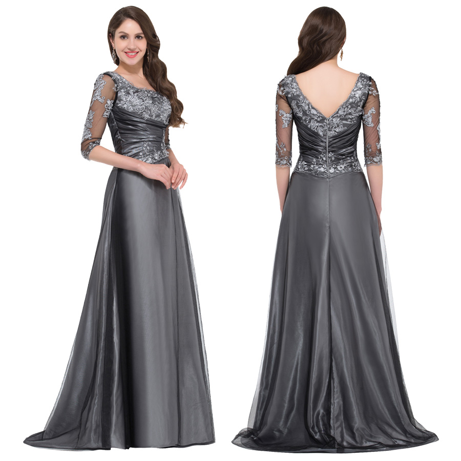 half sleeve evening dress long 2016 robe de soiree longue grace karin dark grey formal dresses. Black Bedroom Furniture Sets. Home Design Ideas