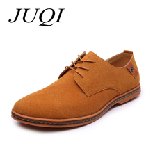 JUQI Fashion Men Casual Shoes New Spring Flats Lace-up Male Suede Oxfords Leather zapatillas hombre size 38-48