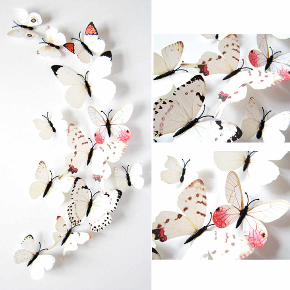 2017 12pcs White Sticker Art Design Decal Wall Home Decorations 3D Butterfly Pattern Decorative Wall Stickers Mirror Wal 0.599