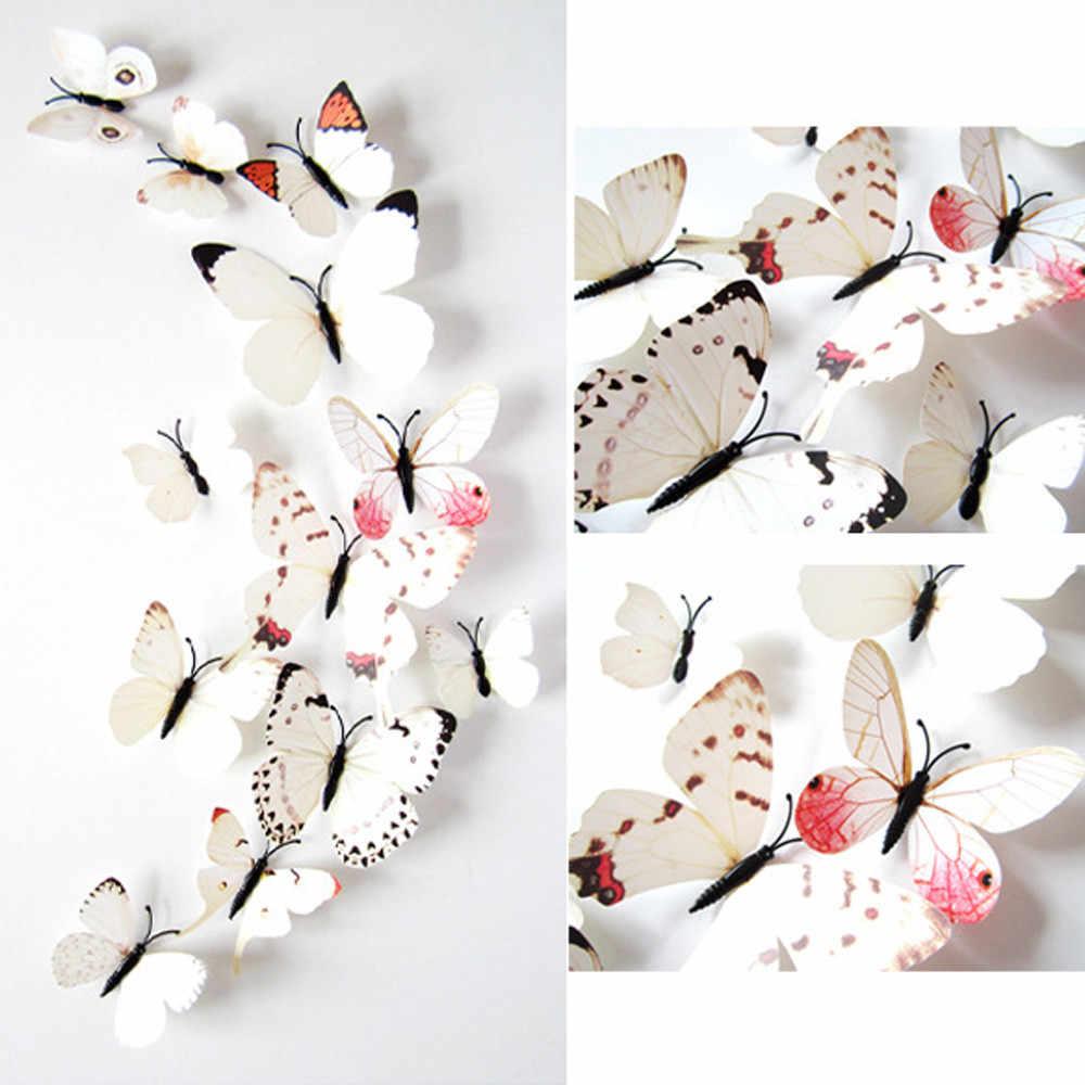 2017 12 шт белые наклейки художественный дизайн настенные украшения для дома 3D бабочки декоративные наклейки на стену s зеркало Wal 0,599