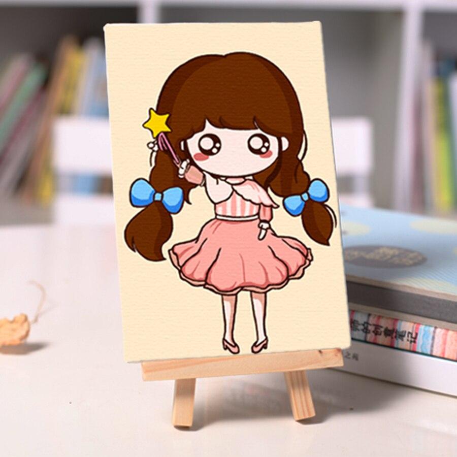 686 Niños Diy Pintura Al óleo Pequeña Muchacha Linda Para Colorear Por Números Pintados A Mano Imagen Con Caballete Home Dormitorio Decoration