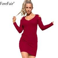 Forefair النساء مثير مفتوح الكتف الخامس الرقبة كم طويل bodycon اللباس الأسود الأحمر محبوك جردت مرونة زائد حجم الخريف اللباس