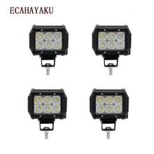цена на ECAHAYAKU 4pcs 4 Inch LED 18W Work Light Bar 24v 12V IP67 SPOT FLOOD for 4x4 4WD OFF ROAD ATV TRUCK BOAT UTV fog driving light