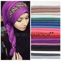Hijab de una pieza maxi bufanda de los mantones 85*180 cm 100% viscosa pañuelos de algodón sólido de las mujeres llanura hijab islámico musulmán de la señora robó