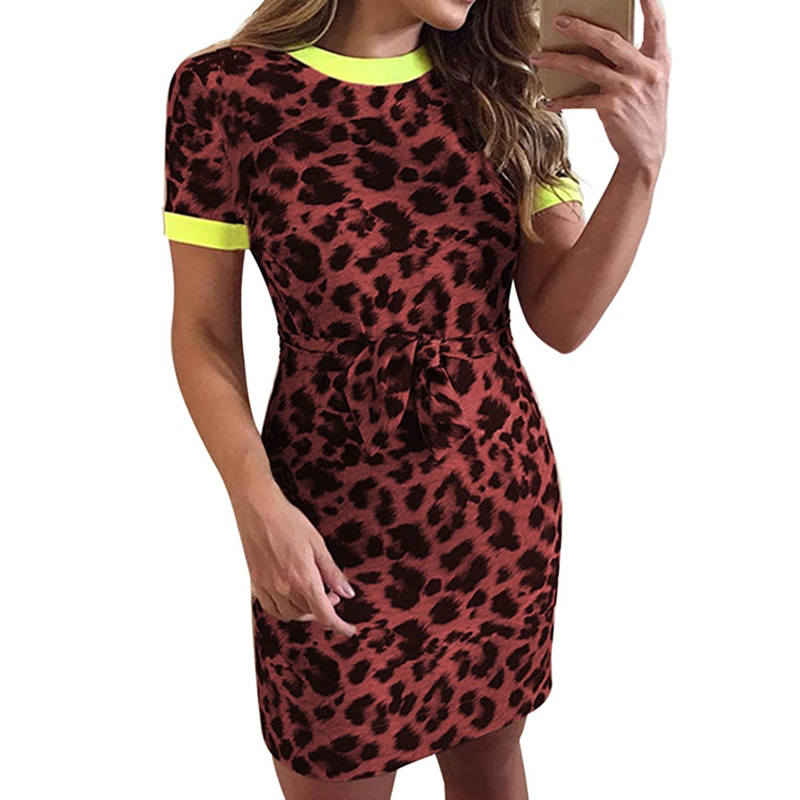 2019 Spring Summer Women Fahsion Party Dresses Short Sleeve O Neck Leopard Print Sexy Dresses