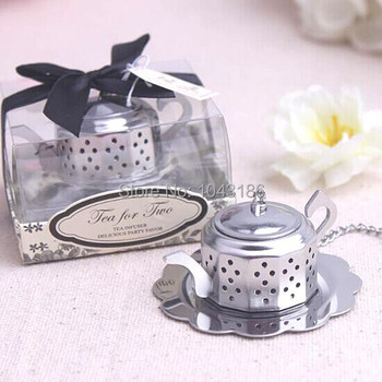 Free shipping wedding favor gift and giveaways--Tea for Two Teapot Tea Infuser Favours party favor 40pcs/lot
