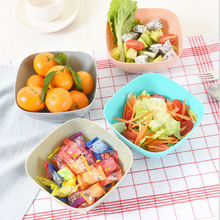 2pcs Dishes Candy Color  Safety Fedding  Bowl Vegetable Fruit Salad Dishes Dinnerware Plastic Square Fruit Plate 4C