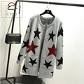 New spring autumn women cardigan loose-fitting warm long knitted sweater female star printed cardigan sweater lady