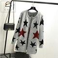 Nueva primavera otoño mujeres cardigan suelta cálido largo femenino hecho punto suéter estrella impreso chaqueta de punto de señora