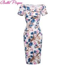 Для женщин пикантные с открытыми плечами платье миди с цветочным принтом 2017 Для женщин s элегантные вечерние Bodycon платье дамы Тонкий партия Карандаш Платья для женщин Vestidos