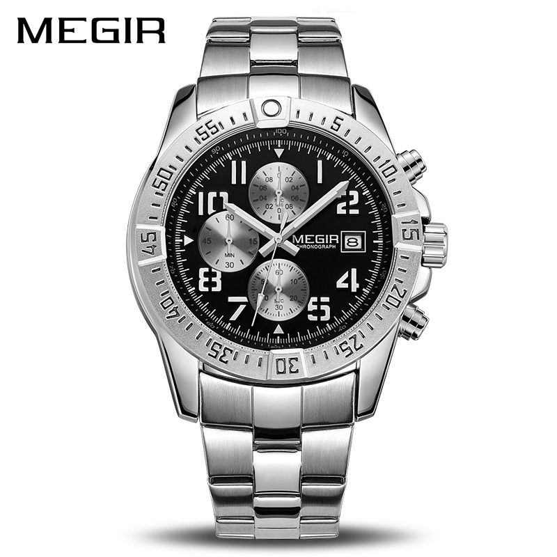 MEGIR Business Men Watch Luxury Brand Stainless Steel Wrist Watch Chronograph Army Military Quartz Watches Relogio Masculino luxury brand jedir male watches chronograph stainless steel quartz watch men business waterproof wrist watch relogio masculino