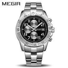 MEGIR עסקי גברים שעון יוקרה מותג נירוסטה שעון יד הכרונוגרף צבא צבאי קוורץ שעונים Relogio Masculino