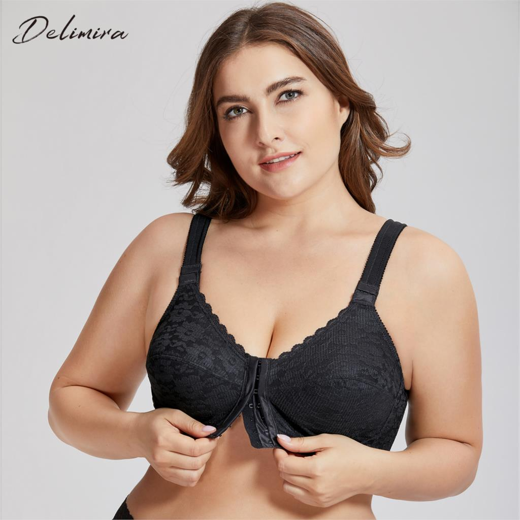 4373e242f DELIMIRA Women s Full Coverage Posture Corrector Front Closure Wireless Back  Support Lace Plus Size Bra