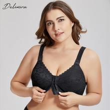 DELIMIRA Womens Full Coverage Posture Corrector Front Closure Wireless Back Support Lace Plus Size Bra