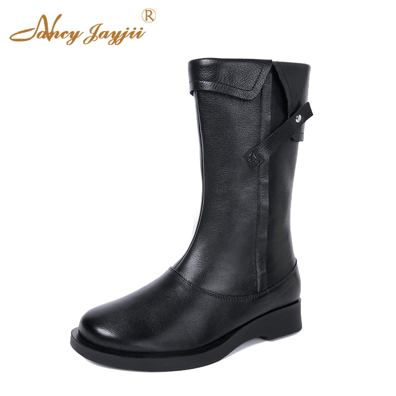 Spring Black Coffee Genuine Leather Boots Women Sexy Shoes Western Round Toe Zipper Mid-calf Soft Heel 3cm Solid Size 36 39 38 women spring autumn thick mid heel genuine leather pointed toe side zipper fashion mid calf martin boots size 34 39 sxq0818