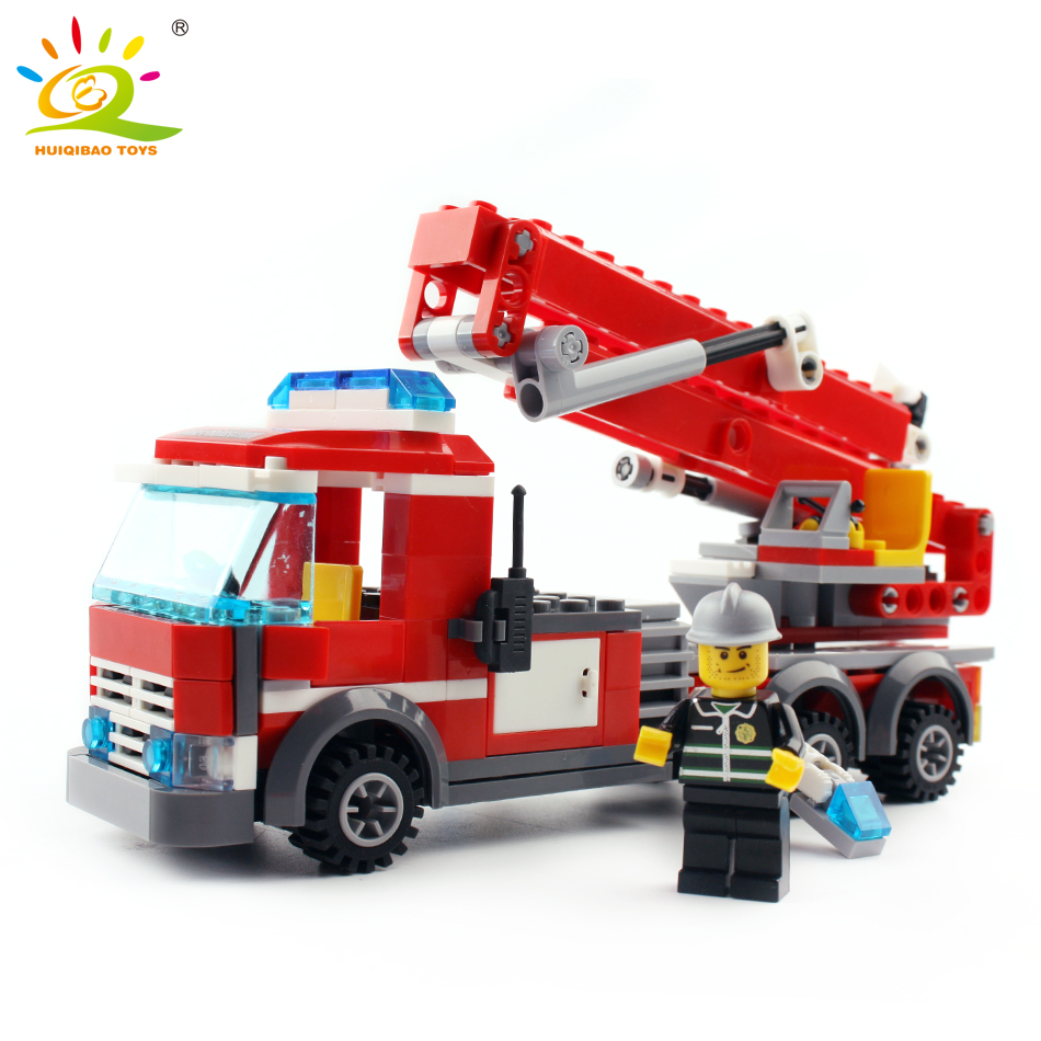 Model Building Blocks 83pcs Firefighting Fire Helicopter Car Fireman Diy Building Blocks Compatible City Educational Brick Toys For Children