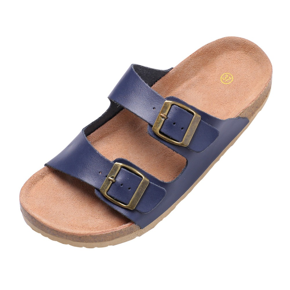 2016 New Fashion Summer Beach Shoes 2 Buckles Slides Woman Sandals Cork Slippers Mujer Casual Free Shiping