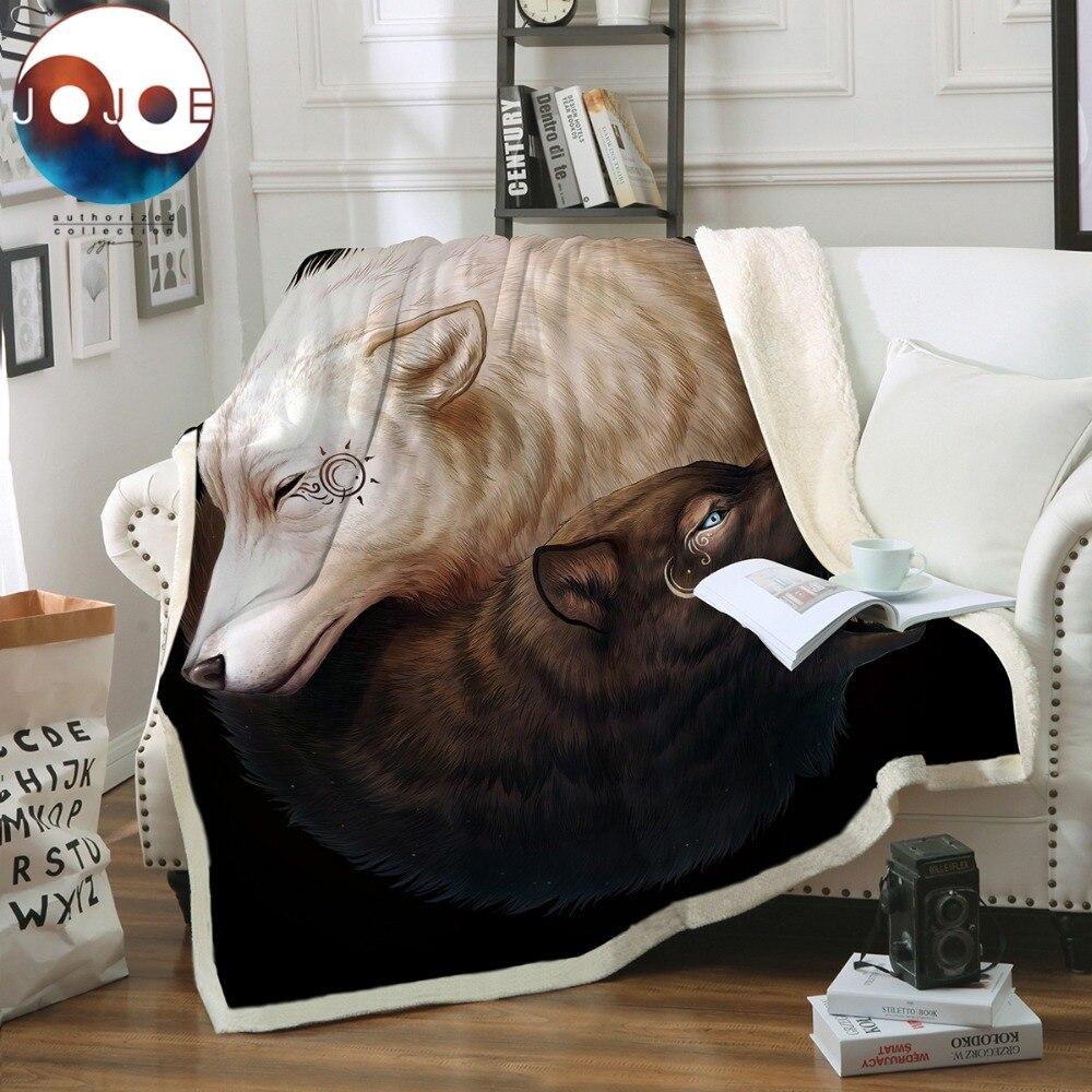 Yin et Yang Loups par JoJoesArt Jeter Couverture Noir et Blanc Mince Couette Animal 130x150 cm Sherpa Polaire lits Couverture manta