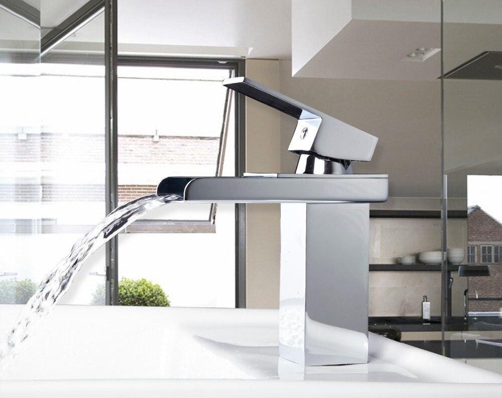 e_pak Modern Style 8259/12 Wide Waterfall Spout Single Handle Chrome Finish  Bathroom Basin Sink Mixer Tap Faucet