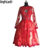 Robe de soiree трапециевидной формы с высоким воротом Длинные рукава, красное с кружевом длиной выше колена платье для выпускного вечера Вечеринк