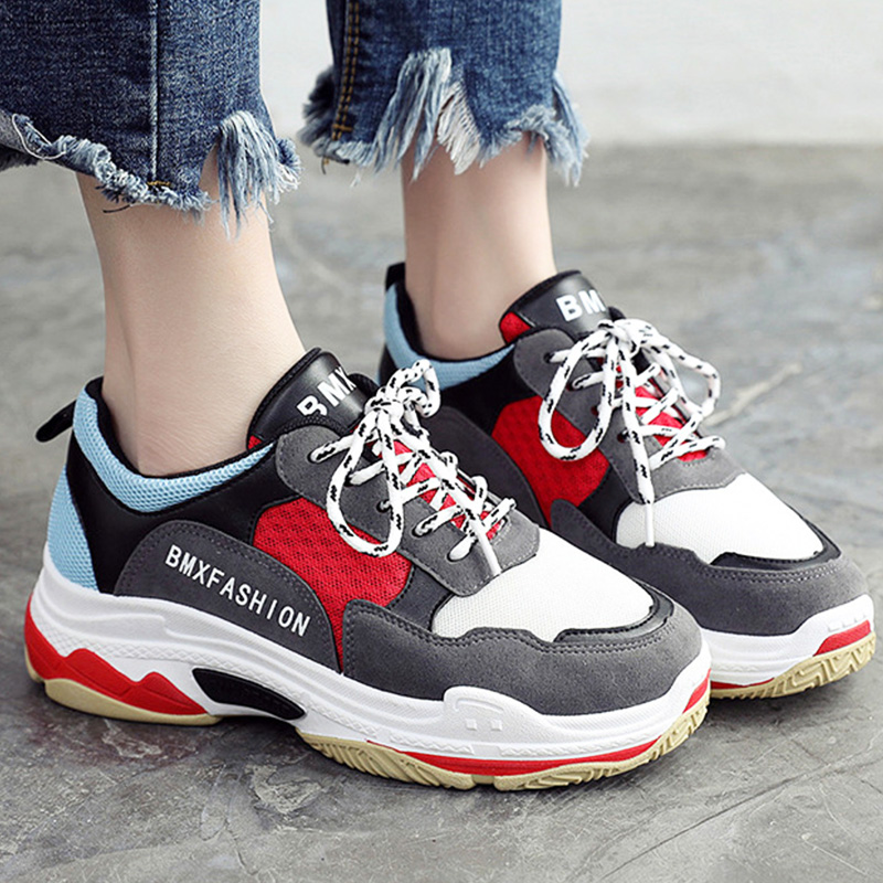 Women vulcanize shoes shallow mixed colors fashion sneakers for girls height increasing female shoes 2018 new style
