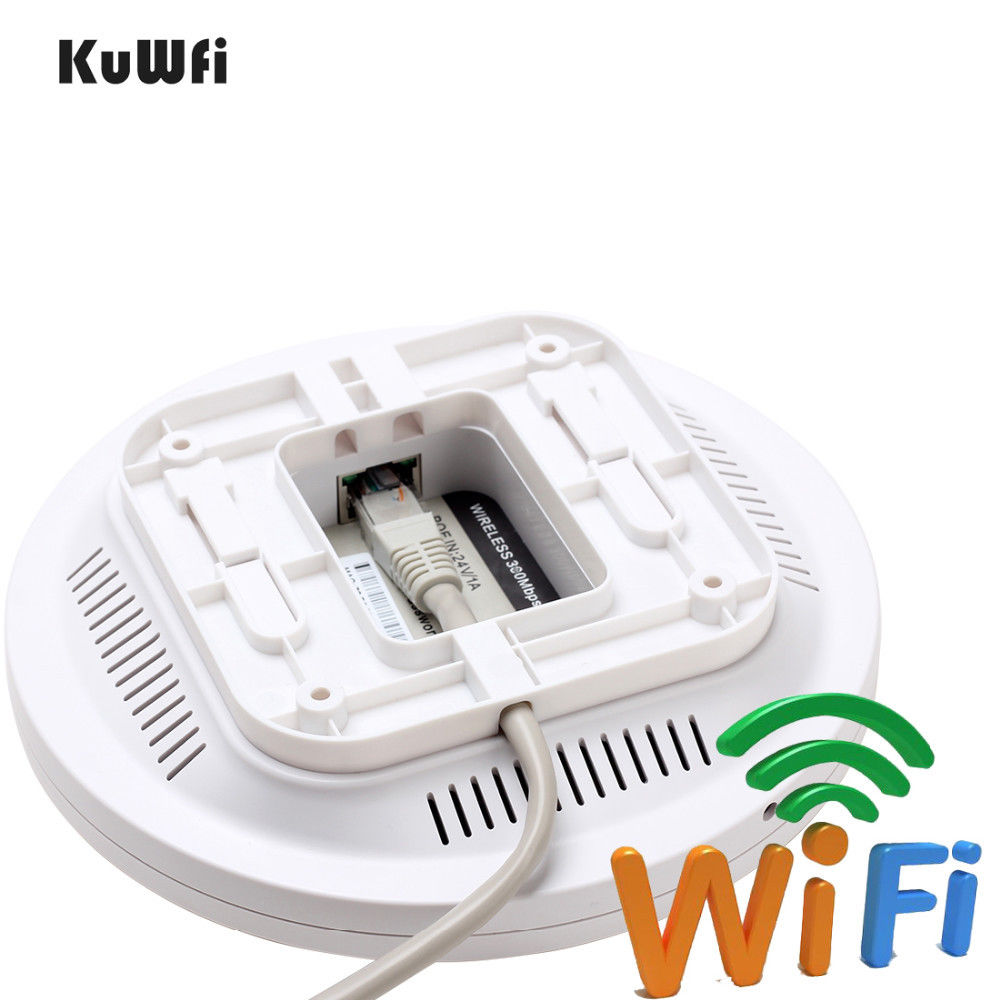 Image 4 - KuWfi Indoor Wireless Router 300Mbps Ceiling AP Router 2.4Ghz WiFi Access Point AP for Hotel 48V POE WI FI Signal Amplifier