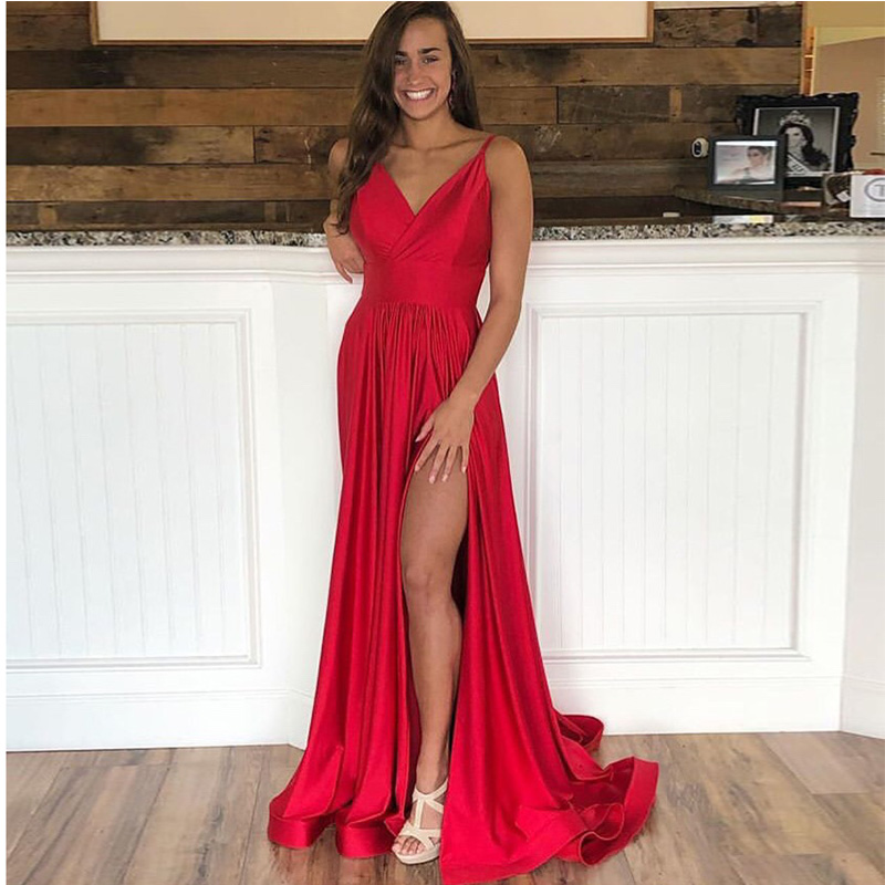 2019 Red A-line   Prom     Dresses   V-neck Spaghetti Straps Elastic Satin Formal Party Gowns Backless Sweep Train Front Split   Prom   Gown