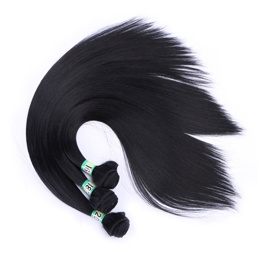 "Delice 16"" 18"" 20"" Women's Long Straight Black Hair Weaving Heat Resistance Synthetic Weft Hair Extensions(China)"