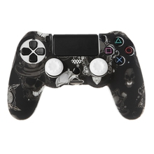 Funda protectora de silicona para mando + 2 tapas de agarre para PS4