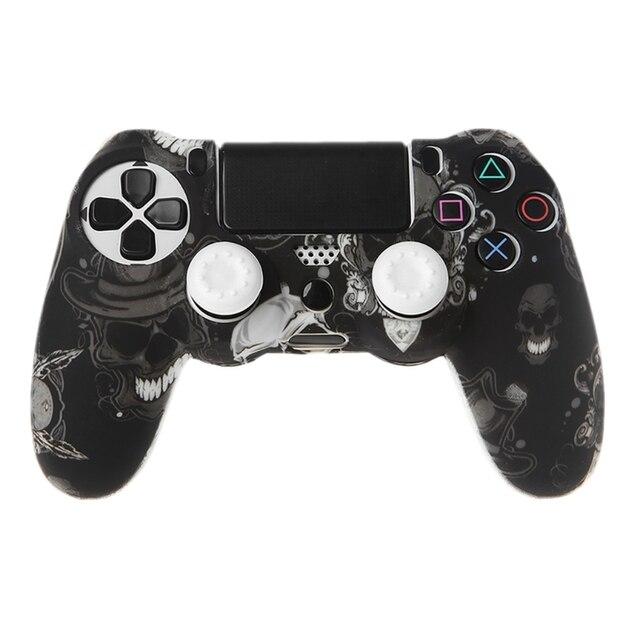 Gamepad Controllerซิลิโคนแขนป้องกัน + 2 Grip CapsสำหรับPS4