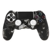 Gamepad denetleyici silikon kol koruyucu koruyucu kapak + 2 kavrama kapaklar için PS4
