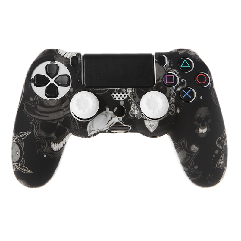 Gamepad <font><b>Controller</b></font> Silicone Sleeve Guard Protective Cover + 2 Grip Caps For <font><b>PS4</b></font> image