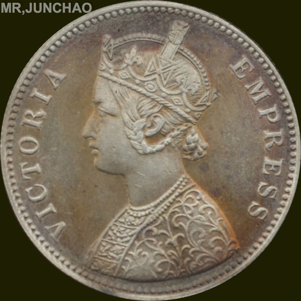 British India Coin 1897 90 Silver Queen Victoria One