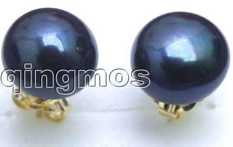 SALE 7 8mm Natural Black Freshwater Flat Round Pearl Earring with Solid Gold Stud 2110 wholesale/retail Free shipping
