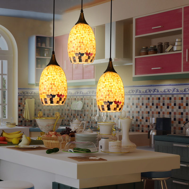 Tiffany Mediterranean style natural shell pendant lights lustres dining room bar home lighting