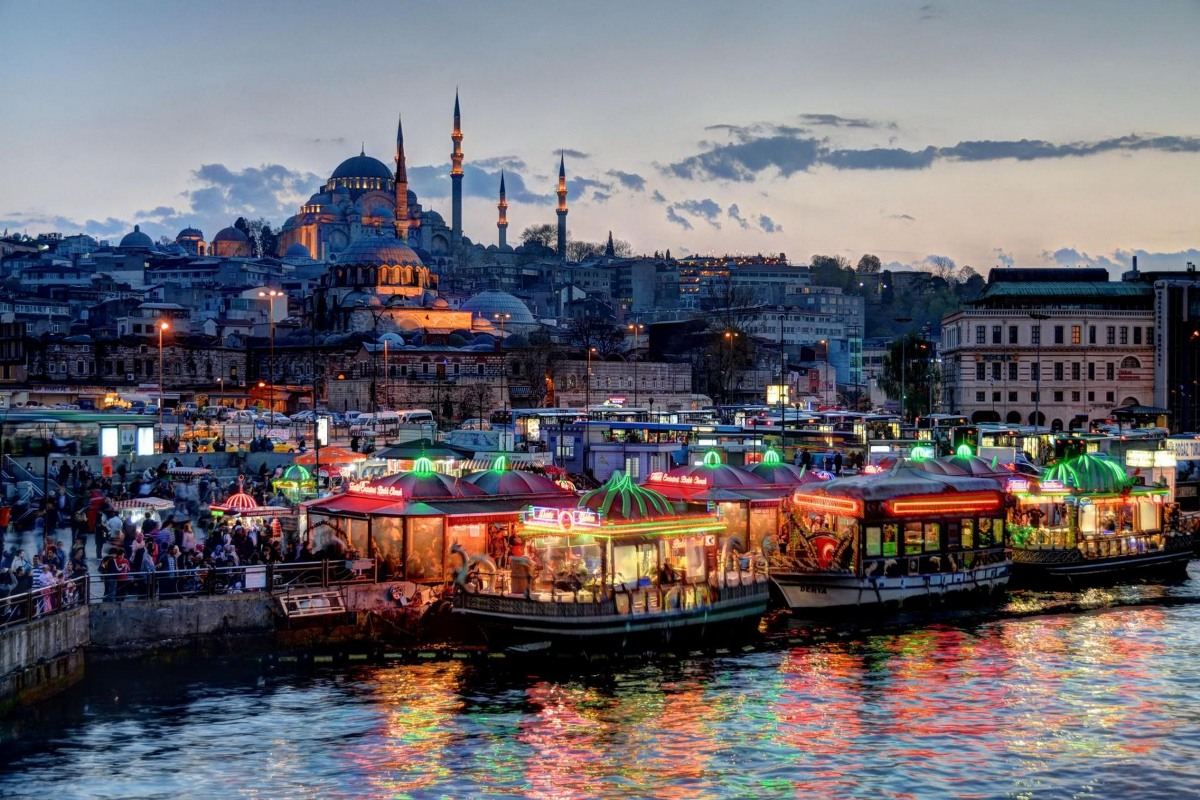 custom print canvas fabric poster (frame available) <font><b>Istanbul</b></font> Turkey nightscapes 217PFJ for wall decor room decor home decoration image