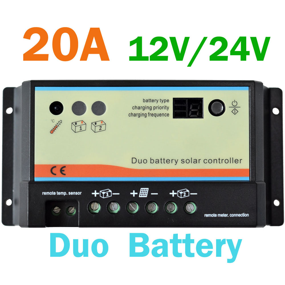 20A Duo Battery Solar Panel Charge Controller Regulator 12V/24V AUTO Dual Battery Solar Charger PWM bykski n gy1080hof x vga water cooling block for galaxy gtx 1080 1070 hof