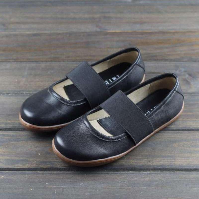 IMTER Women Shoes Plus size Elastic band Slip on Ballerina Shoes 100% Genuine Leather Flat Shoes Women Ballet Flats 2019 (258)(China)