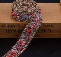 2.5 cm czerwony Kryształ wykończenia Dżetów Wedding Bridal Aplikacja Strassu Łańcucha Siatki Krystalicznej łaty dla Odzież Home Decor