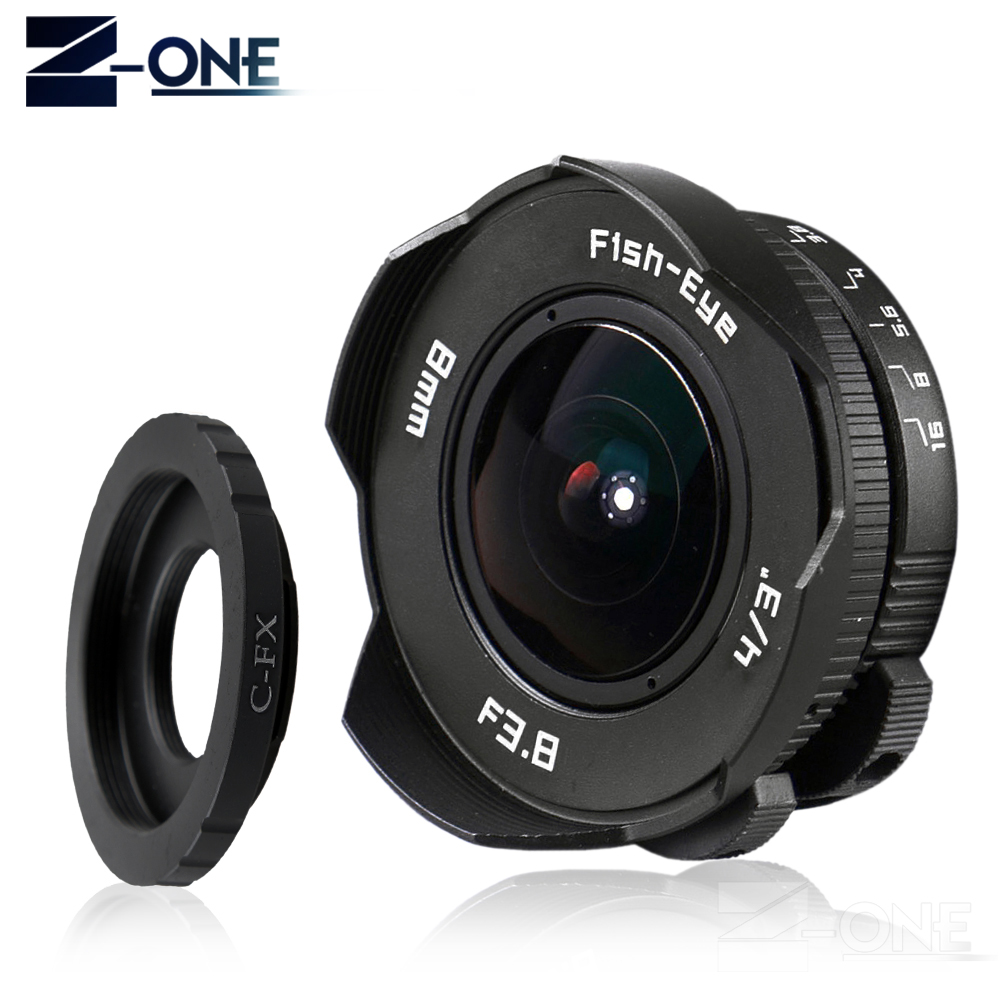 8mm F3.8 Fish-eye C mount Wide Angle Fisheye Lens Focal length Fish eye Lens Suit For Fuji Fujifilm X-E2 X-E1 X-Pro1 X-M1 X-A2 2pcs 150mm big optical pmma plastic round solar condensing compound eye fresnel lens improving brightness of light focal length