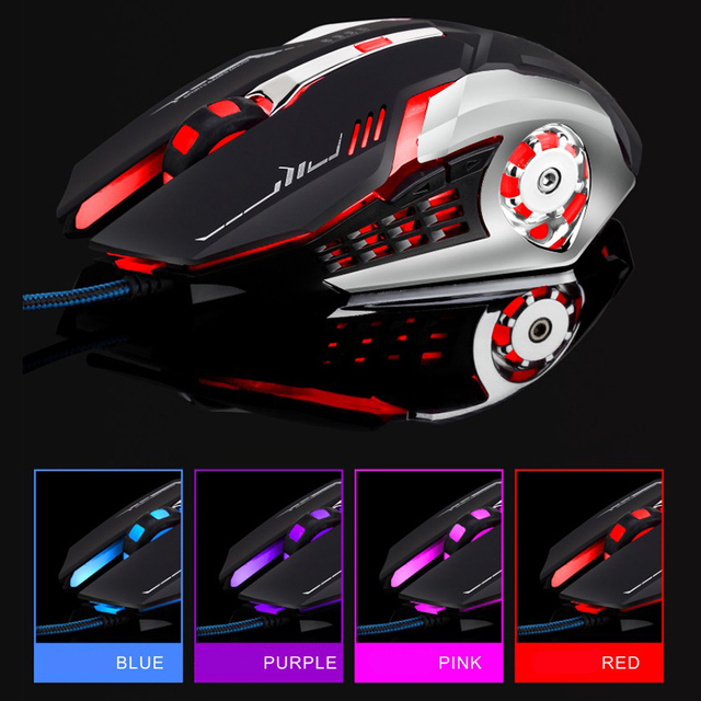 US $8 84 17% OFF Wired Gaming Mouse Quiet 4800DPI DPI four speed Adjustment  Ergonomic Optical Customize Macro Mouse for Game PUBG PC Laptop-in Mice