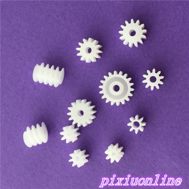 11pcs K002Y  Plastic 9 Motor Axis Gear Set 2 Worm Gear Wear-resisting DIY Toy Car Parts High Quality On Sale